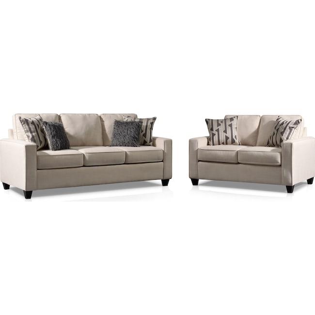 Living Room Furniture - Burton Queen Memory Foam Sleeper Sofa and Loveseat Set