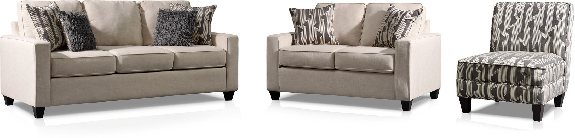 Living Room Furniture - Burton Sofa, Loveseat and Accent Chair