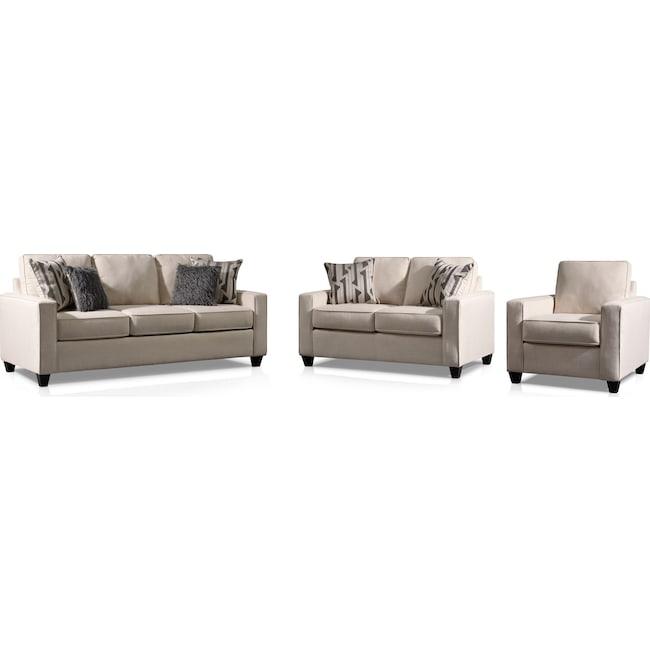 Living Room Furniture - Burton Sofa, Loveseat and Chair