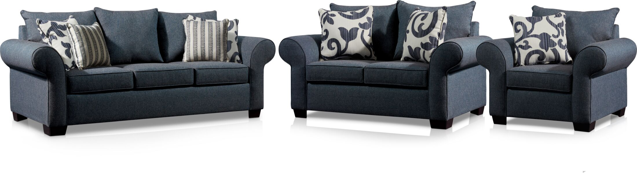 Living Room Furniture - Calloway Sofa, Loveseat and Chair - Blue