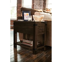 camryn dark brown chairside table