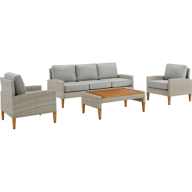 Outdoor Furniture - Capri Outdoor Sofa, Set of 2 Chairs and Coffee Table