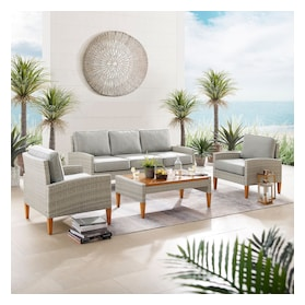 Capri Outdoor Sofa, Set of 2 Chairs and Coffee Table