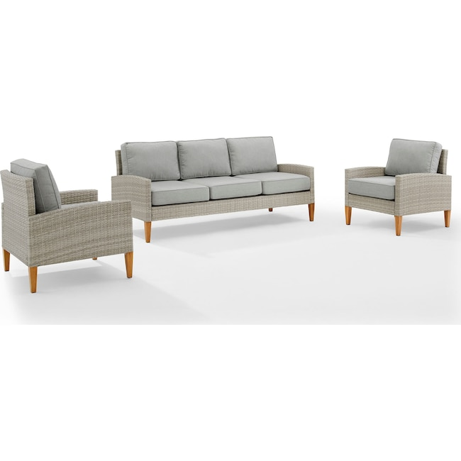 Outdoor Furniture - Capri Outdoor Sofa and Set of 2 Chairs