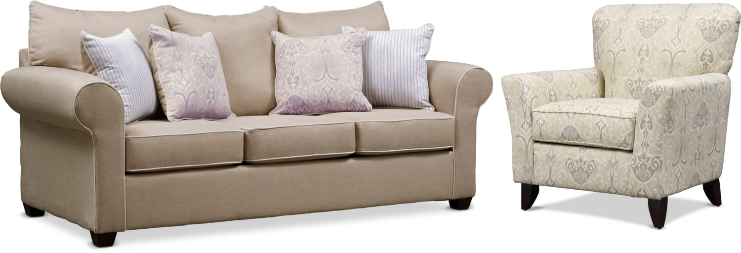 Living Room Furniture - Carla Queen Sleeper Sofa and Accent Chair Set