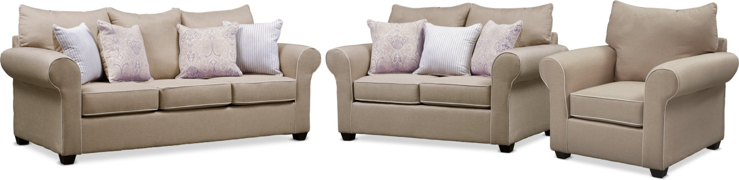 Living Room Furniture - Carla Queen Sleeper Sofa, Loveseat, and Chair Set