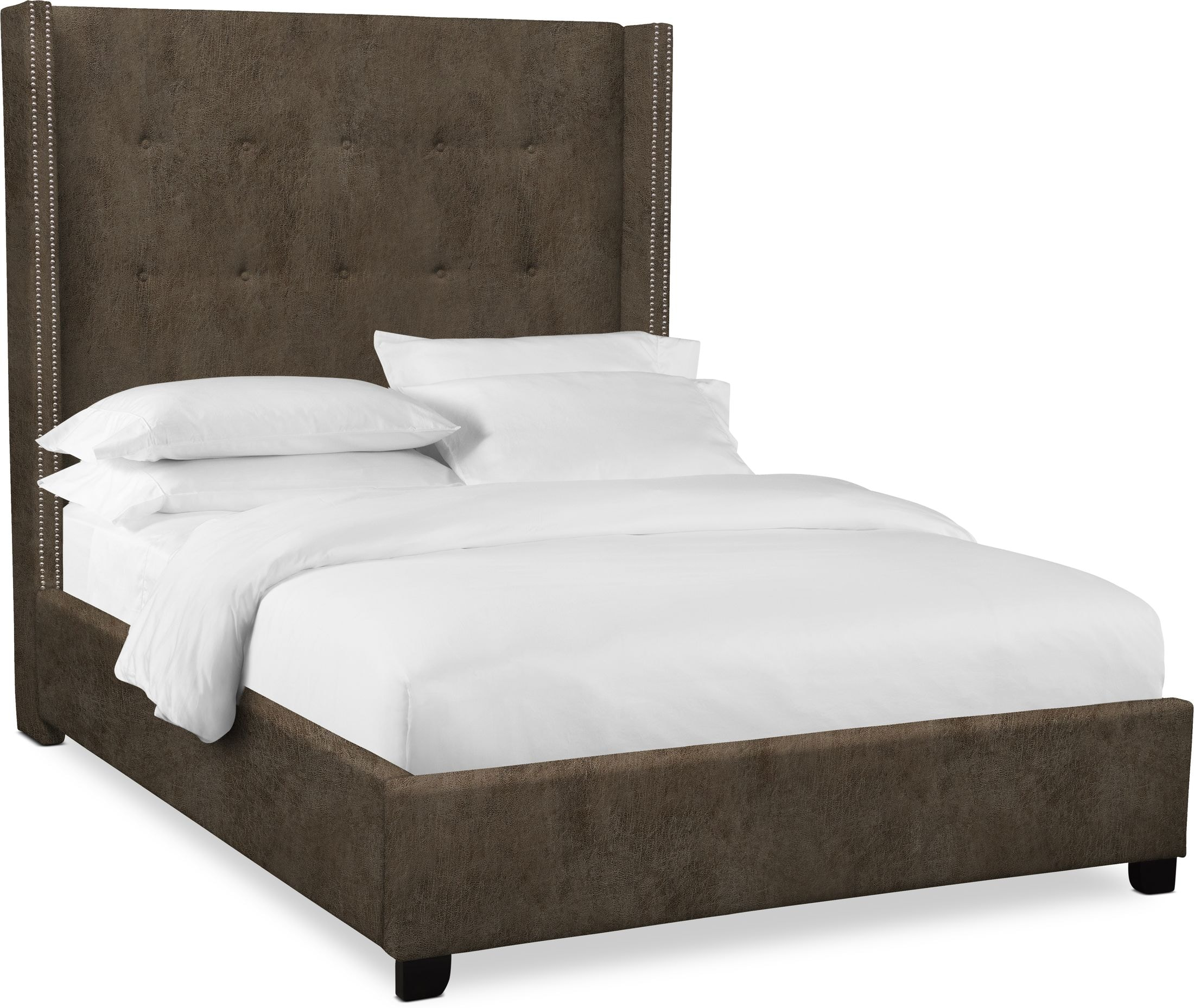 "Bedroom Furniture - Carter 68"" Upholstered Shelter Bed"