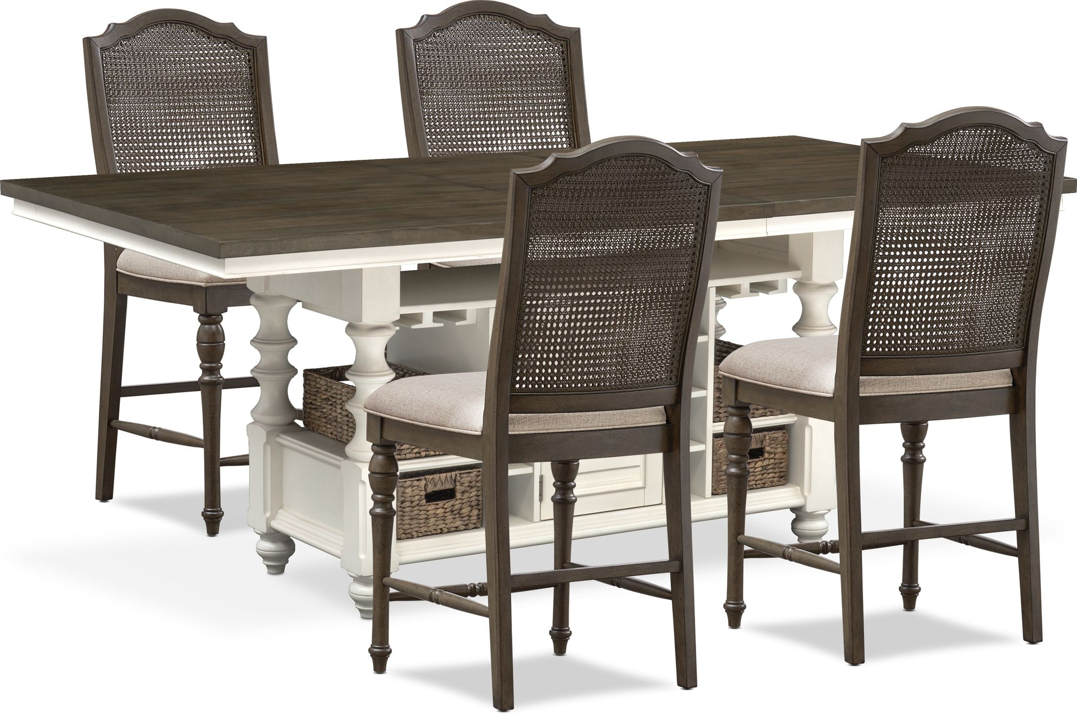 Dining Room Furniture - Charleston Counter-Height Dining Table and 4 Cane Back Stools