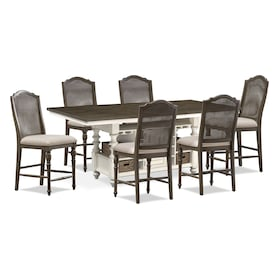 Charleston Counter-Height Dining Table and 6 Cane Back Stools