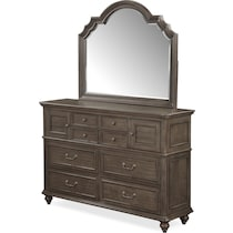 charleston gray dresser & mirror
