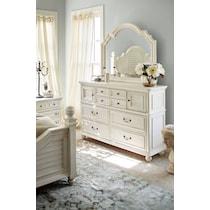 charleston vintage white dresser & mirror