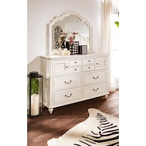 charleston vintage white dresser & mirror