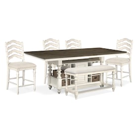 Charleston Counter-Height Dining Table, 4 Stools and Bench