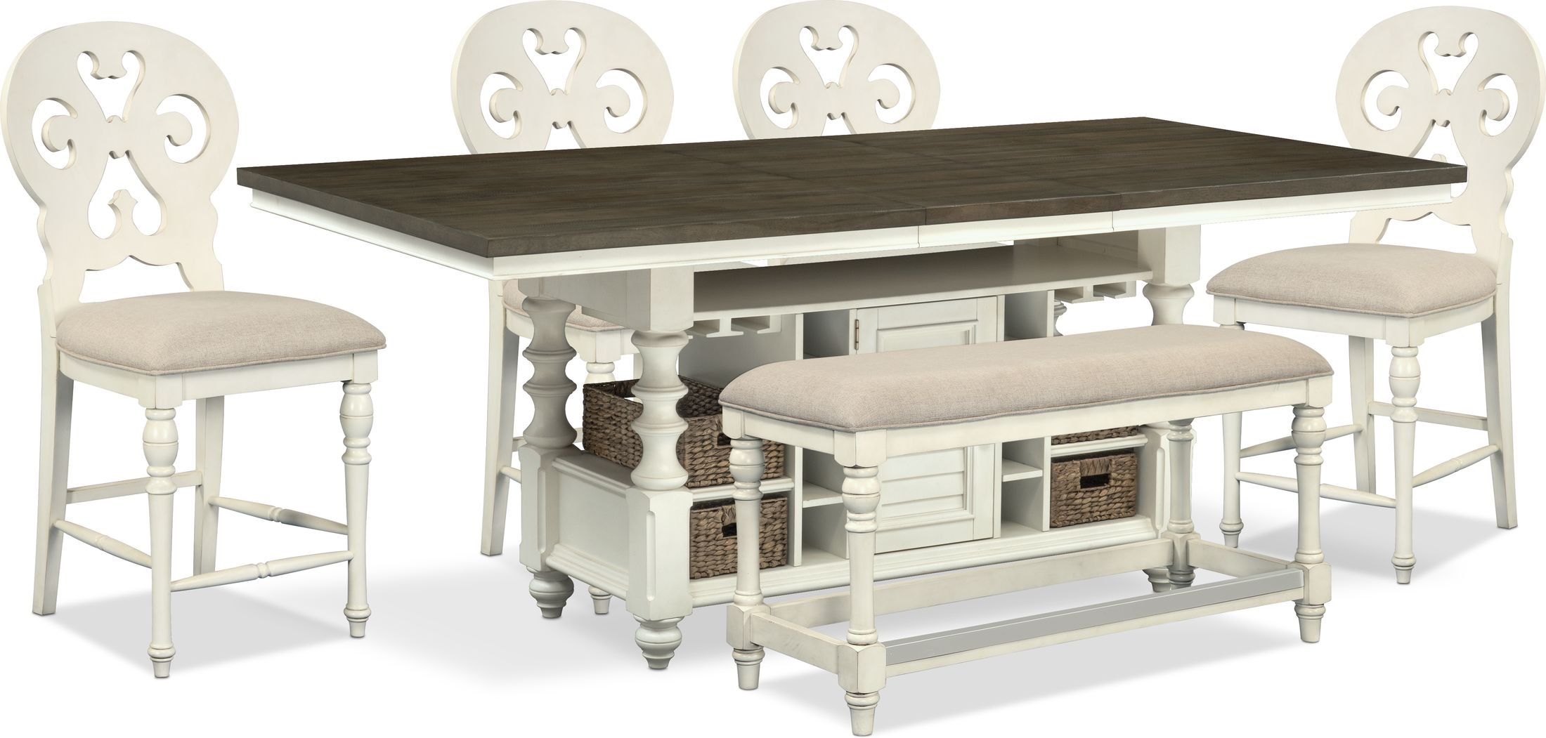 Dining Room Furniture - Charleston Counter-Height Dining Table, 4 Scroll-Back Stools and Bench