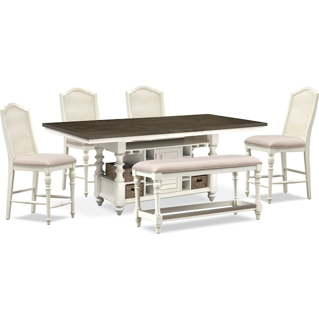 Dining Room Furniture - Charleston Counter-Height Dining Table, 4 Cane Back Stools and Bench