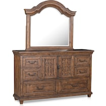 charthouse bedroom light brown dresser & mirror