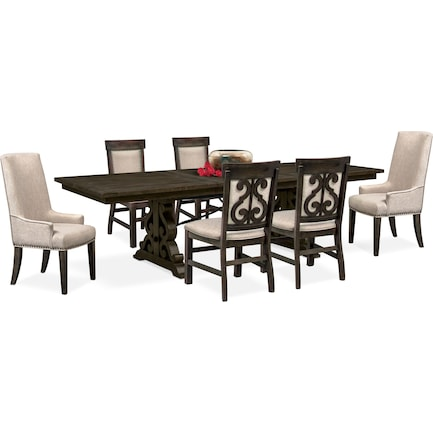 Charthouse Rectangular Dining Table, 2 Host Chairs and 4 Upholstered Dining Chairs - Charcoal