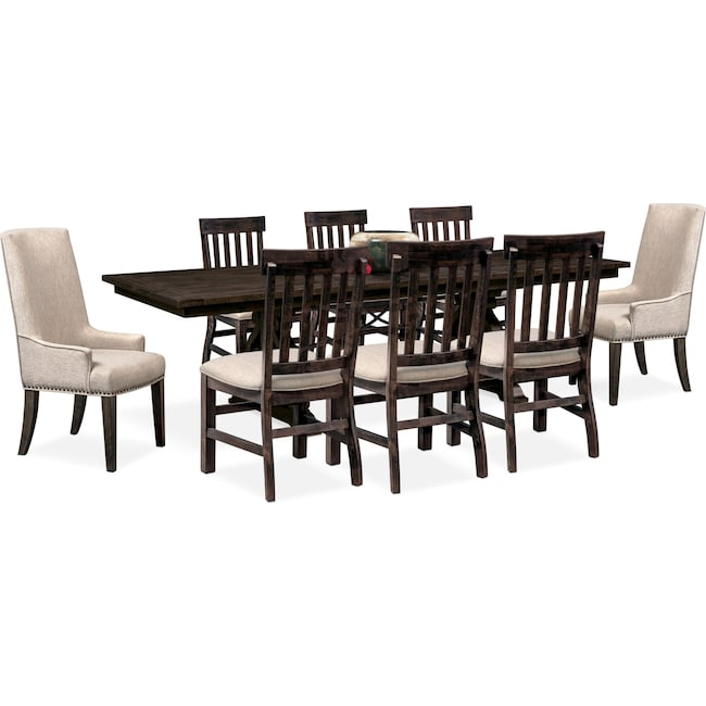 Dining Room Furniture - Charthouse Rectangular Dining Table, 2 Host Chairs and 6 Dining Chairs