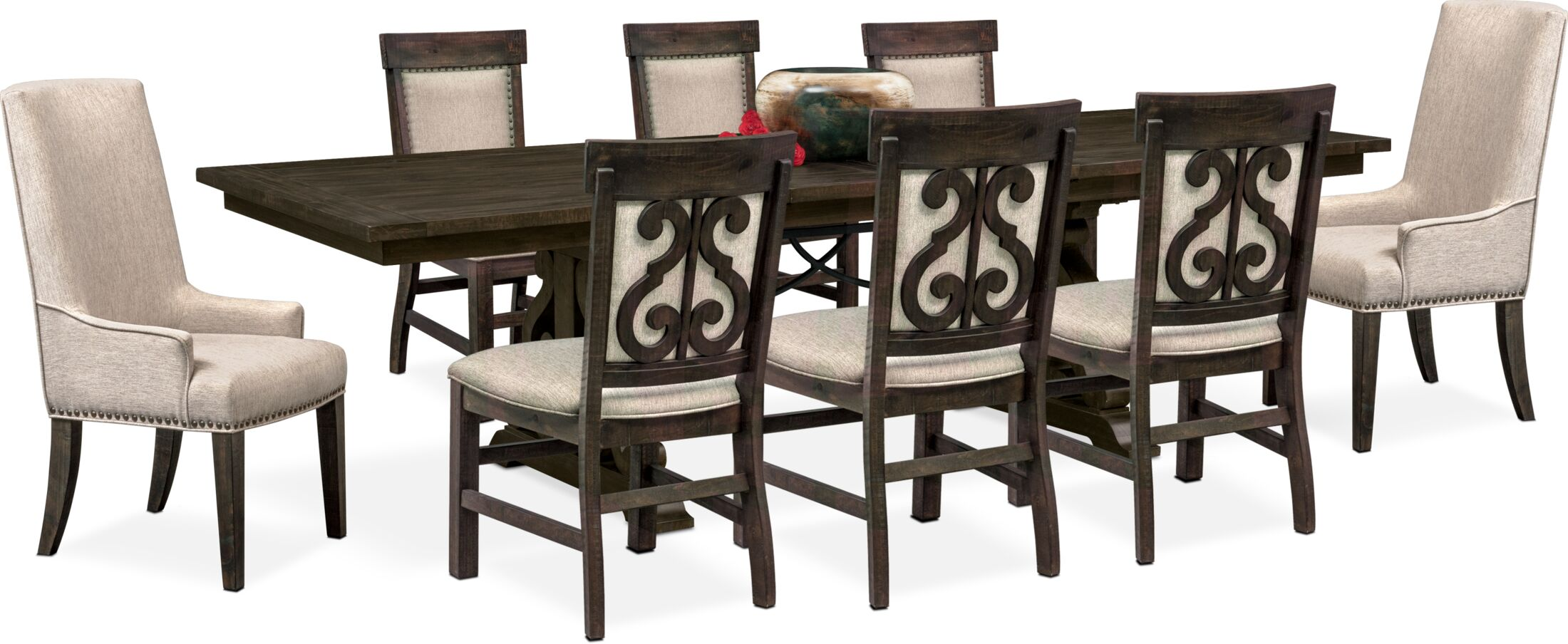 Dining Room Furniture - Charthouse Rectangular Dining Table, 2 Host Chairs and 6 Upholstered Dining Chairs