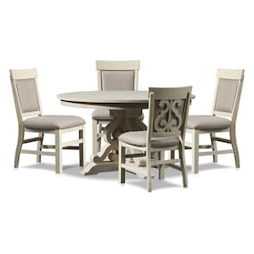 Charthouse Round Dining Table and 4 Upholstered Side Chairs