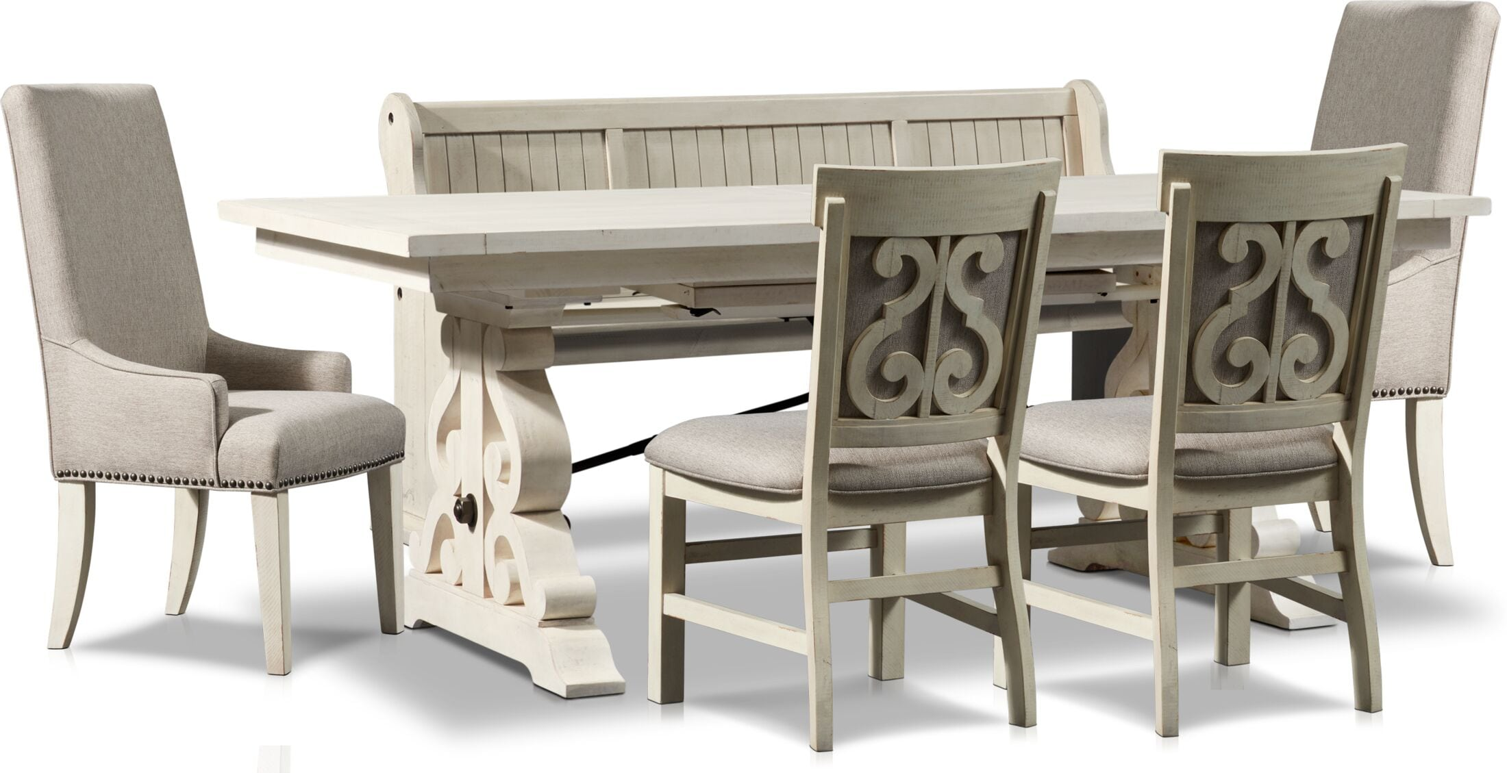 Dining Room Furniture - Charthouse Rectangular Dining Table, 2 Host Chairs, 2 Upholstered Dining Chairs and Bench