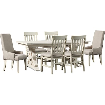Charthouse Rectangular Dining Table, 2 Host Chairs and 4 Dining Chairs - Alabaster