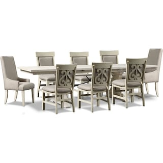 Charthouse Rectangular Dining Table, 2 Host Chairs and 6 Upholstered Dining Chairs