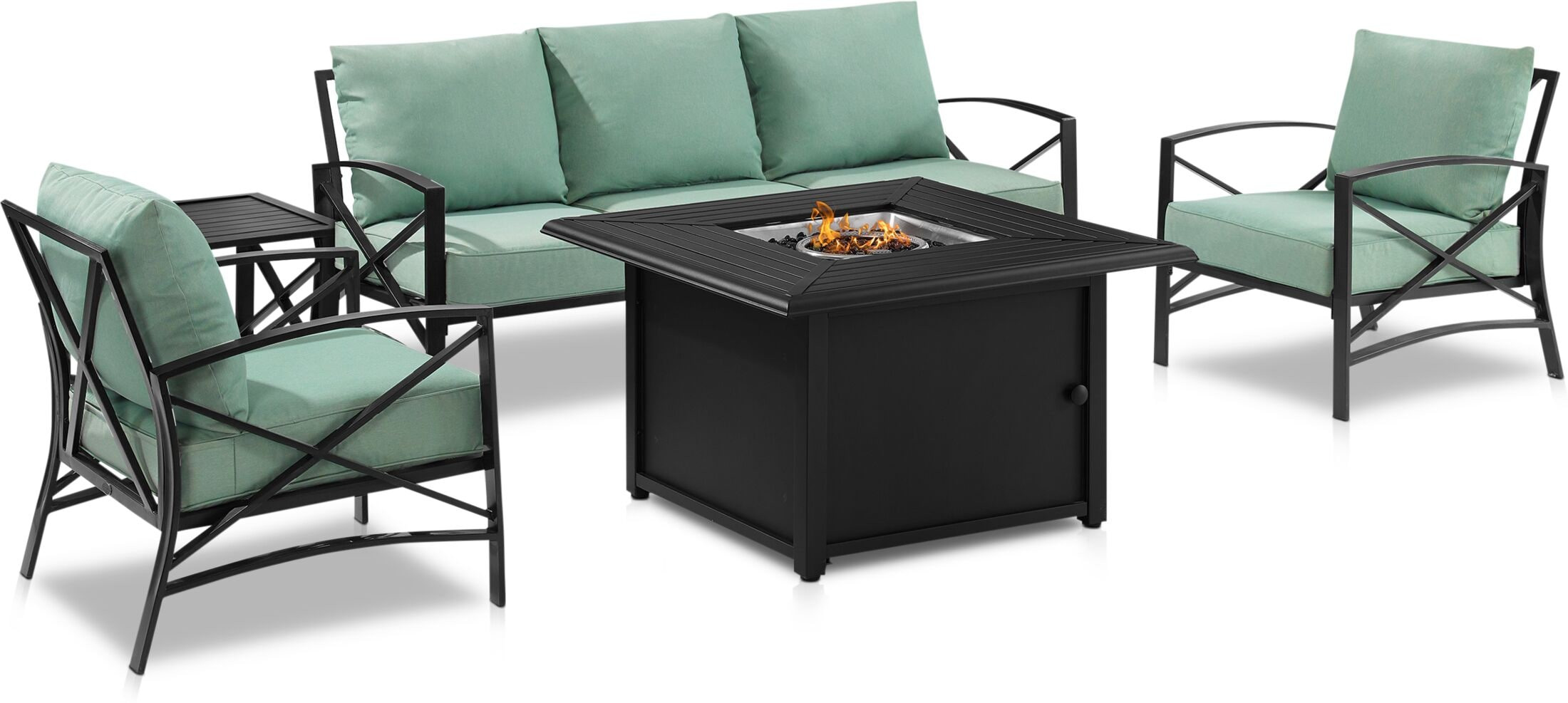 Outdoor Furniture - Clarion Outdoor Sofa, 2 Chairs and Fire Table Set