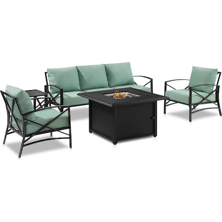 Clarion Outdoor Sofa, 2 Chairs and Fire Table Set - Mist