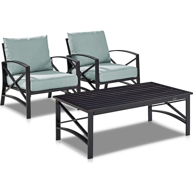 Outdoor Furniture - Clarion Set of 2 Outdoor Chairs and Coffee Table
