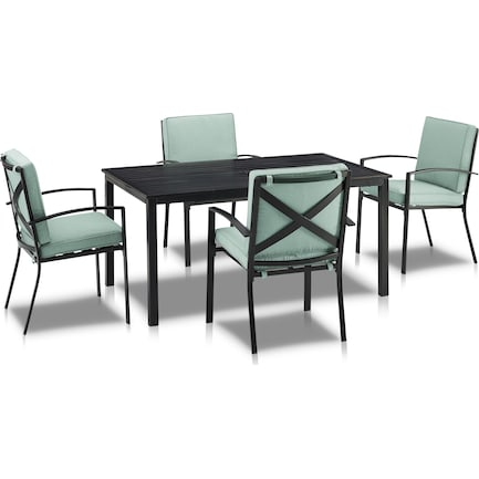 Clarion Outdoor Dining Table and 4 Dining Chairs - Mist