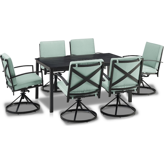 Outdoor Furniture - Clarion Outdoor Dining Table and 6 Swivel Chairs