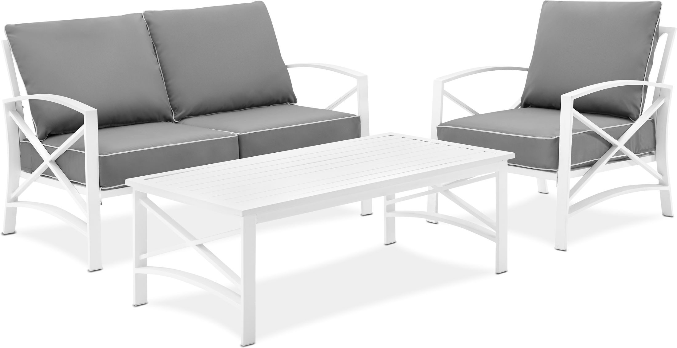 Outdoor Furniture - Clarion Outdoor Loveseat, Chair, and Coffee Table Set