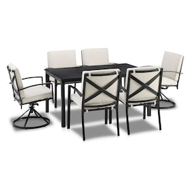 Clarion Outdoor Dining Table, 4 Dining Chairs and 2 Swivel Chairs