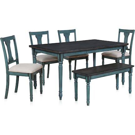 Clayes Dining Table, 4 Chairs and Bench