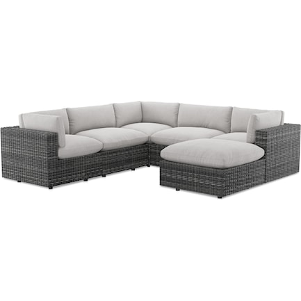 Coastline Outdoor 5-Piece Sectional and Ottoman Set