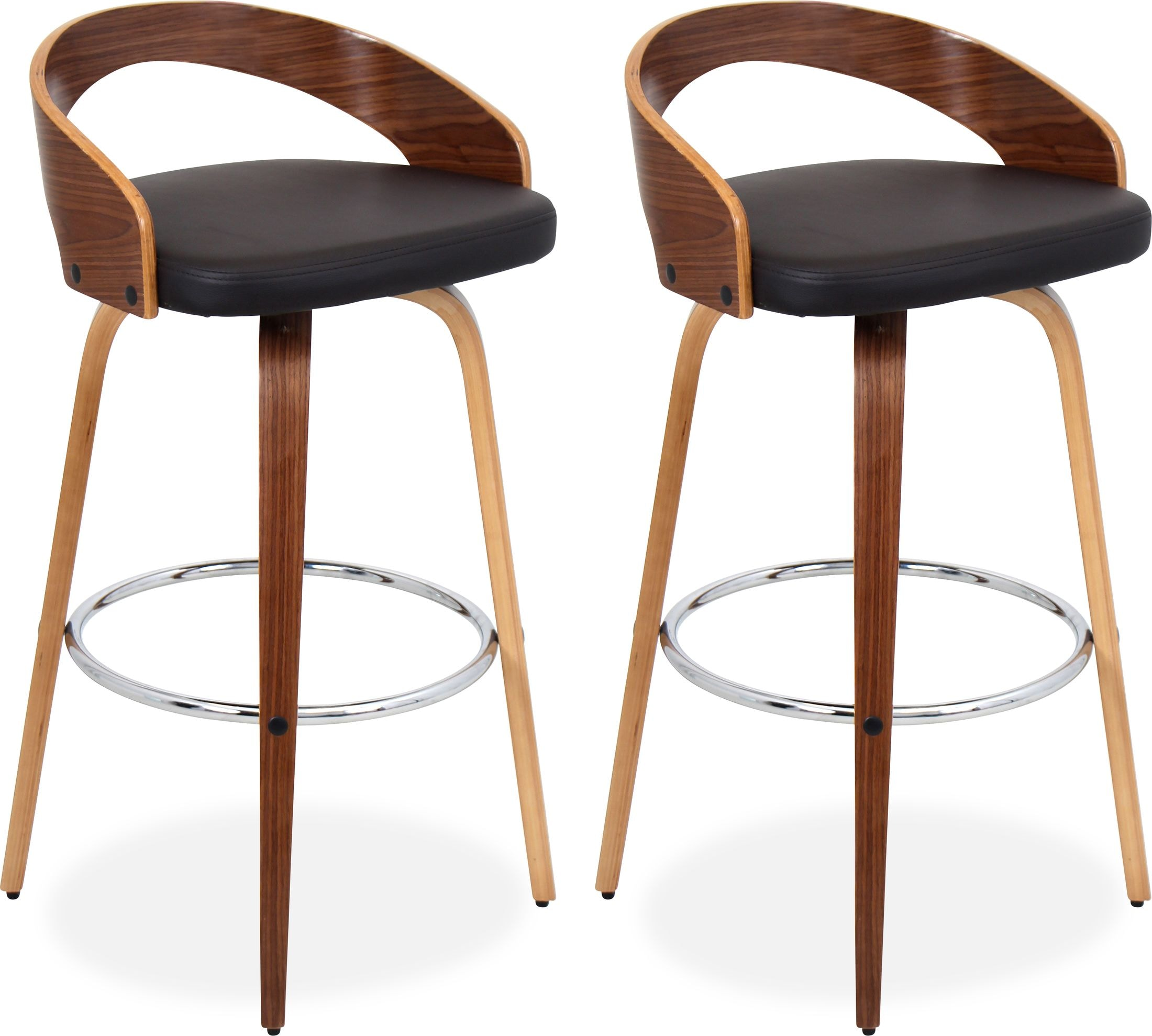 Accent and Occasional Furniture - Cocina Set of 2 Bar Stools - Walnut