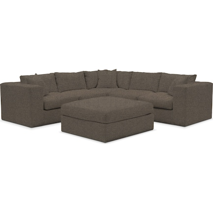 Collin Hybrid Comfort 5-Piece Sectional and Ottoman - Laurent Charcoal