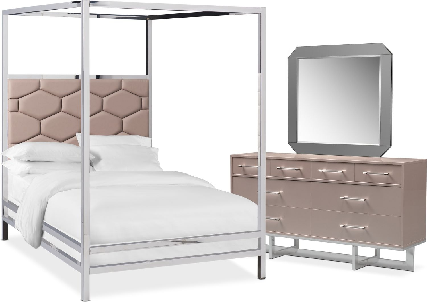 Bedroom Furniture - Concerto 5-Piece Canopy Bedroom Set with Dresser and Mirror