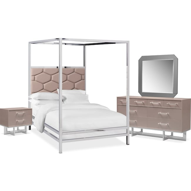 Bedroom Furniture - Concerto 6-Piece Canopy Bedroom Set with Nightstand, Dresser and Mirror
