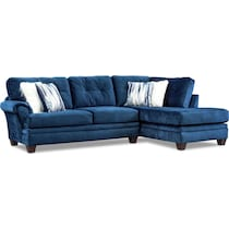 cordelle blue  pc sectional with right facing chaise