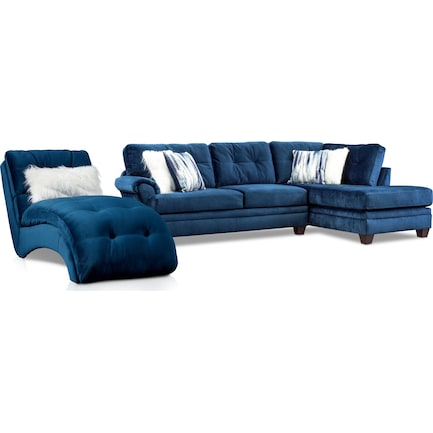 Cordelle 2-Piece Right-Facing Sectional + FREE CHAISE - Blue