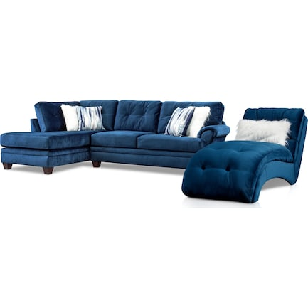 Cordelle 2-Piece Left-Facing Sectional + FREE CHAISE - Blue