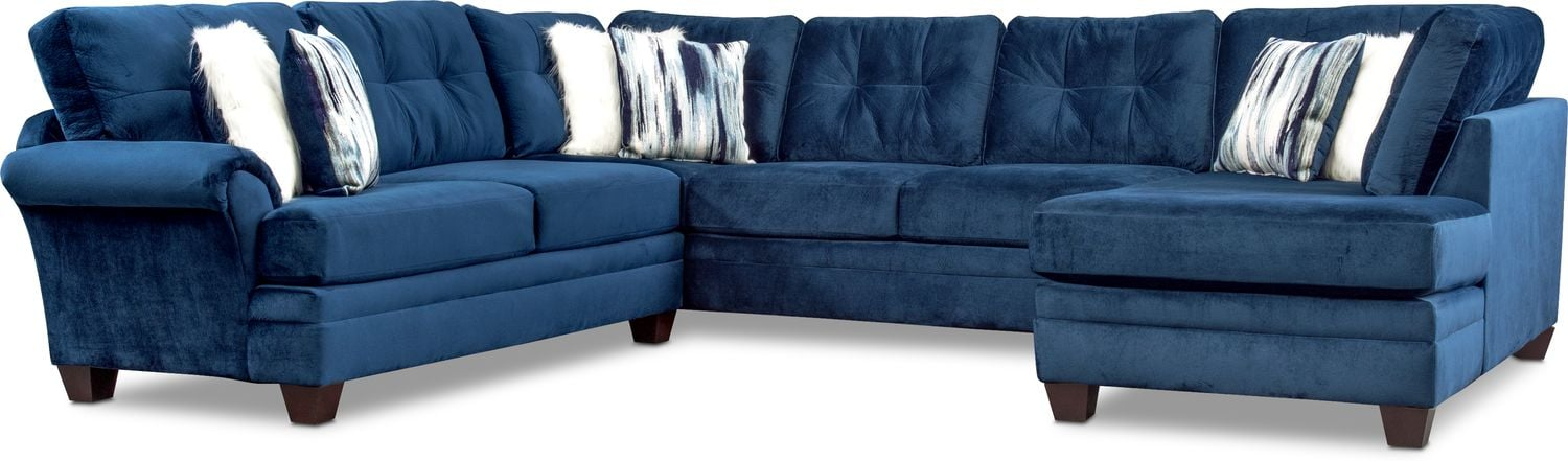 Living Room Furniture - Cordelle 3-Piece Sectional with Chaise