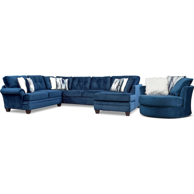 Living Room Furniture - Cordelle 3-Piece Sectional and Swivel Chair Set