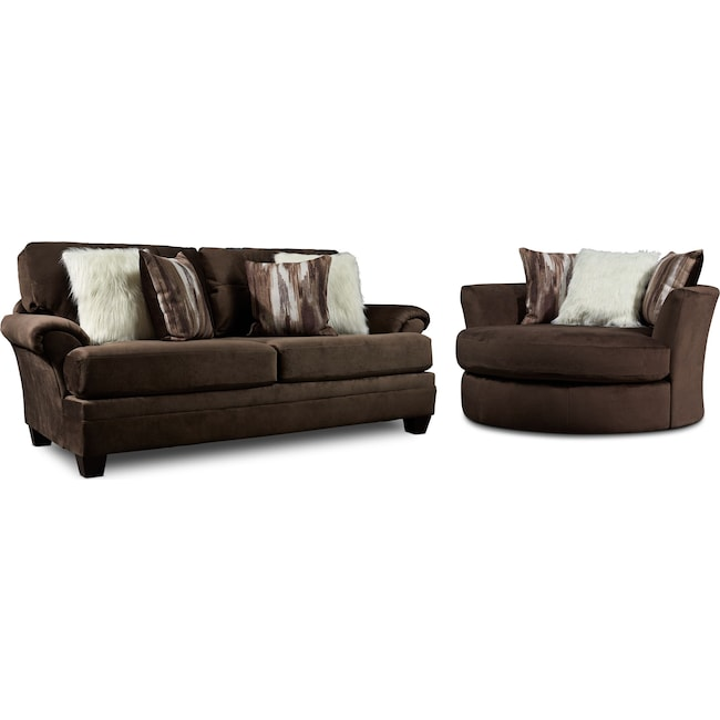 Living Room Furniture - Cordelle Sofa and Swivel Chair Set