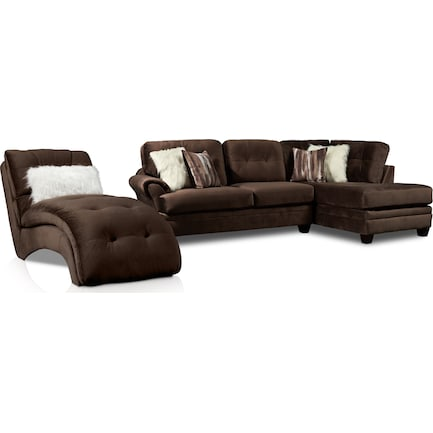Cordelle 2-Piece Right-Facing Sectional + FREE CHAISE - Chocolate