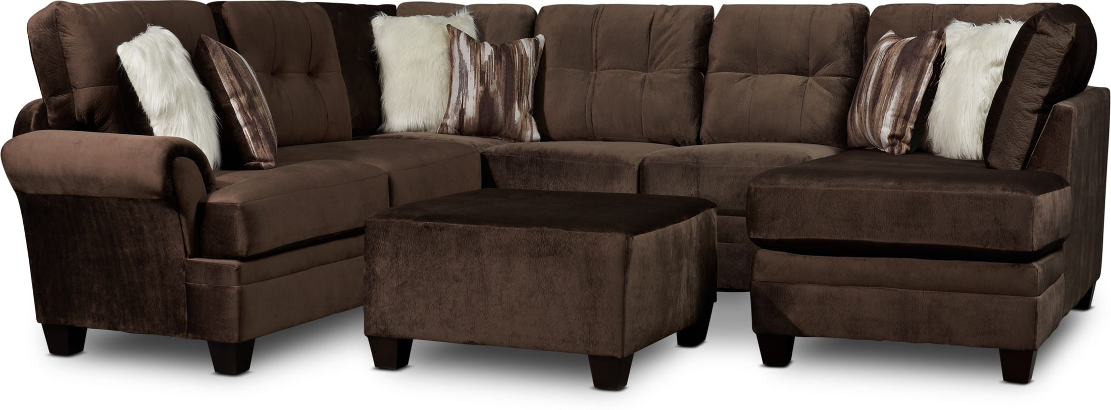 Living Room Furniture - Cordelle 3-Piece Sectional with Chaise and Ottoman