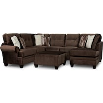 cordelle dark brown  pc sectional and ottoman