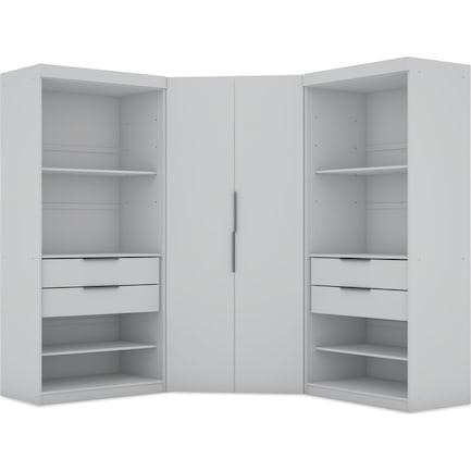 Cornell 3 Section Semi-Open Corner Closet - White